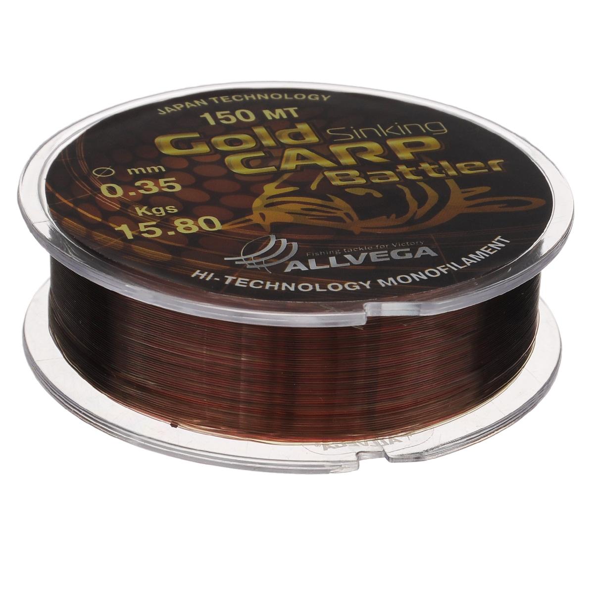 Леска Allvega Gold Karp Battler, цвет: коричневый, 150 м, 0,35 мм, 15,8 кг39951Карповая леска Allvega Gold Karp Battler была разработана для ловли действительно крупной рыбы. Способна противостоять большим нагрузкам в условиях густой растительности и коряжнике. Специальный цвет имеет неоднородную структуру, что позволяет быть не заметной на дне. Хорошо тонет, что является важным критерием для выбора карповой лески.