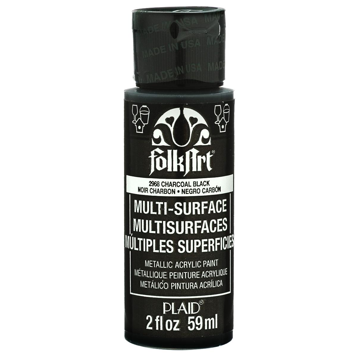 Краска акриловая FolkArt Multi-Surface Metallic, цвет: черный (2968), 59 млFS-00103Краска акриловая FolkArt Multi-Surface Metallic - это прочная погодоустойчивая сатиновая краска с металлическим отливом. Не токсична, на водной основе. Предназначена для различных видов поверхностей: стекло, керамика, дерево, металл, пластик, ткань, холст, бумага, глина. Идеально подходит как для использования в помещении, так и для наружного применения. Изделия, покрытые такой краской, можно мыть в посудомоечной машине в верхнем отсеке. Перед применением краску необходимо хорошо встряхнуть. Краски разных цветов можно смешивать между собой. Перед повторным нанесением краски дать высохнуть в течении 1 часа. До высыхания может быть смыта водой с мылом.