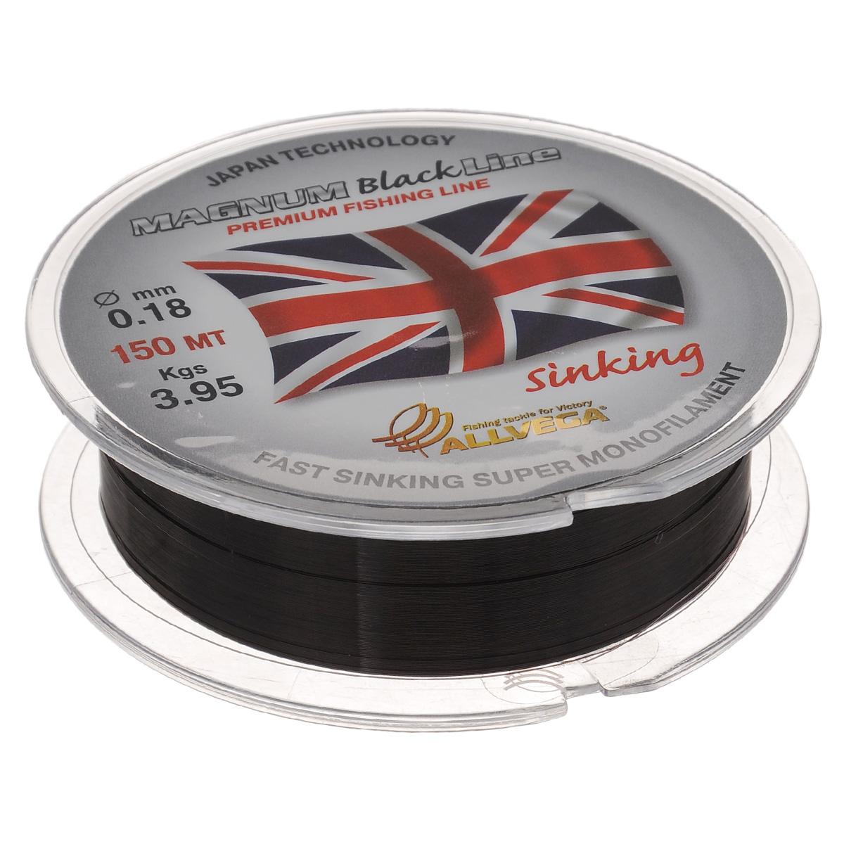 Леска Allvega Magnum Black, цвет: черный, 150 м, 0,18 мм, 3,95 кгLJ4001-015Специальная тонущая леска Allvega Magnum Black. Темный цвет, способность быстро тонуть, отсутствие механической памяти, жесткость, устойчивость к частым перезабросам и внешним механическим воздействиям, делают эту леску незаменимой для поплавочной ловли дальним забросом. Однако, ее физические свойства позволяют с успехом ловить не только на поплавочную снасть, но и на фидер, донки всех видов, а так же использовать ее при подледной ловле в зимней поплавочной удочке.
