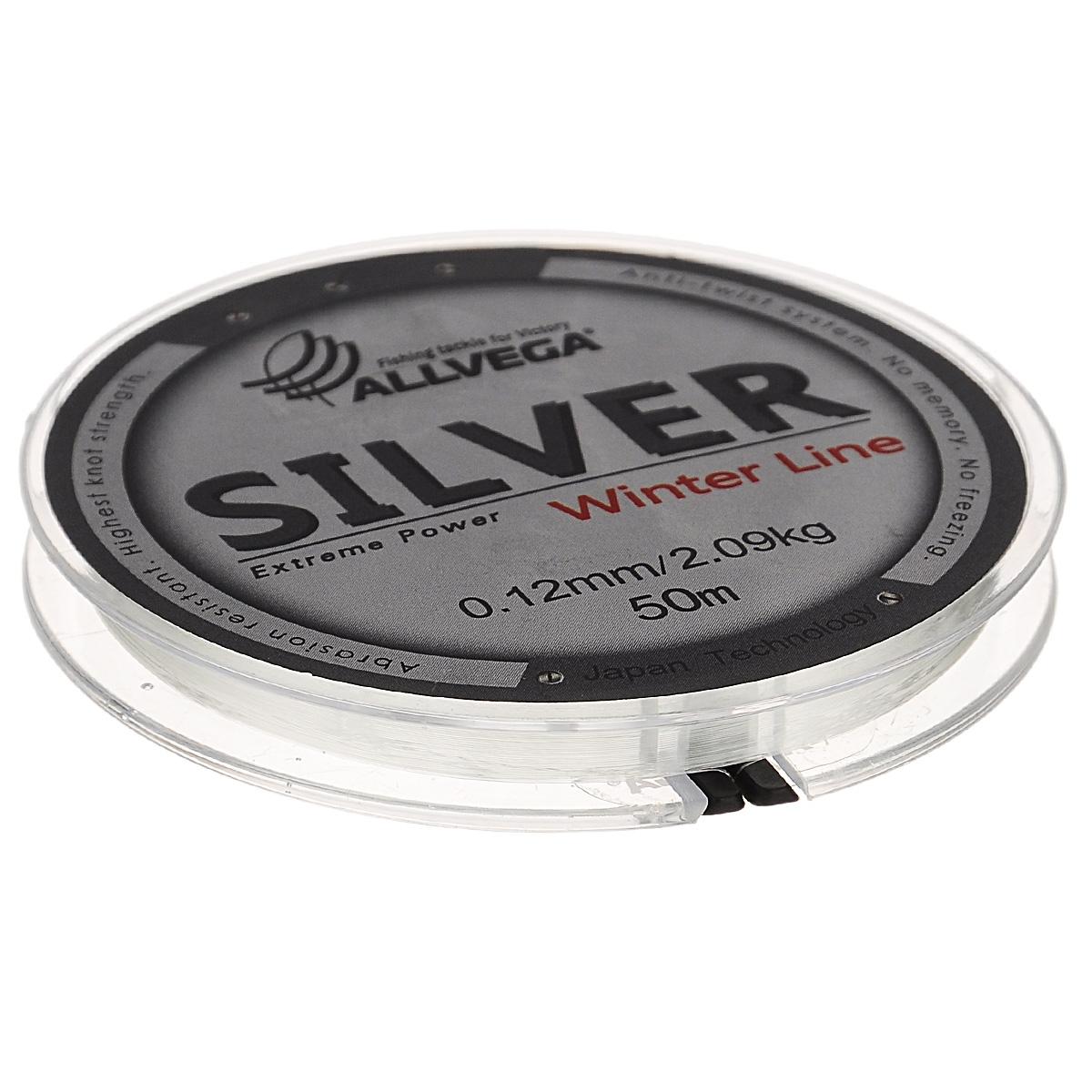 Леска Allvega Silver, цвет: серебристый, 50 м, 0,12 мм, 2,09 кг51527Специальная зимняя леска Allvega Silver предназначена для использования во время низких температур. Имеет светло-серый, серебристый оттенок. Высокопрочная. Отсутствие механической памяти позволяет с успехом использовать ее для ловли на мормышку.