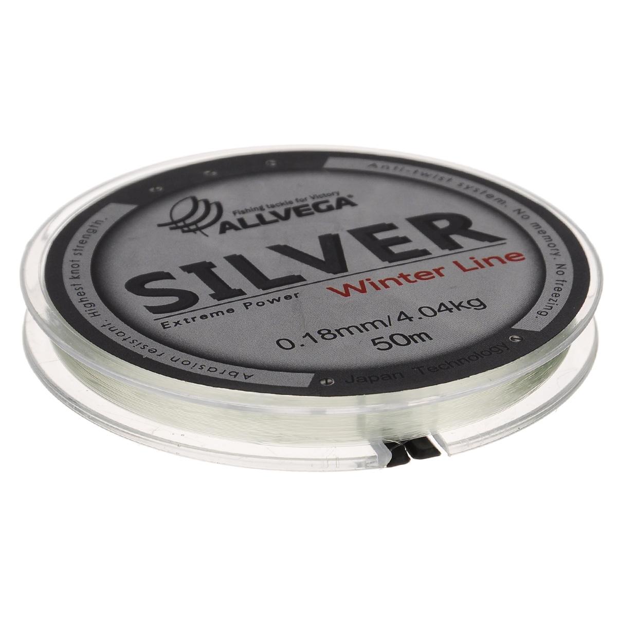 Леска Allvega Silver, цвет: серебристый, 50 м, 0,18 мм, 4,04 кг51530Специальная зимняя леска Allvega Silver предназначена для использования во время низких температур. Имеет светло-серый, серебристый оттенок. Высокопрочная. Отсутствие механической памяти позволяет с успехом использовать ее для ловли на мормышку.