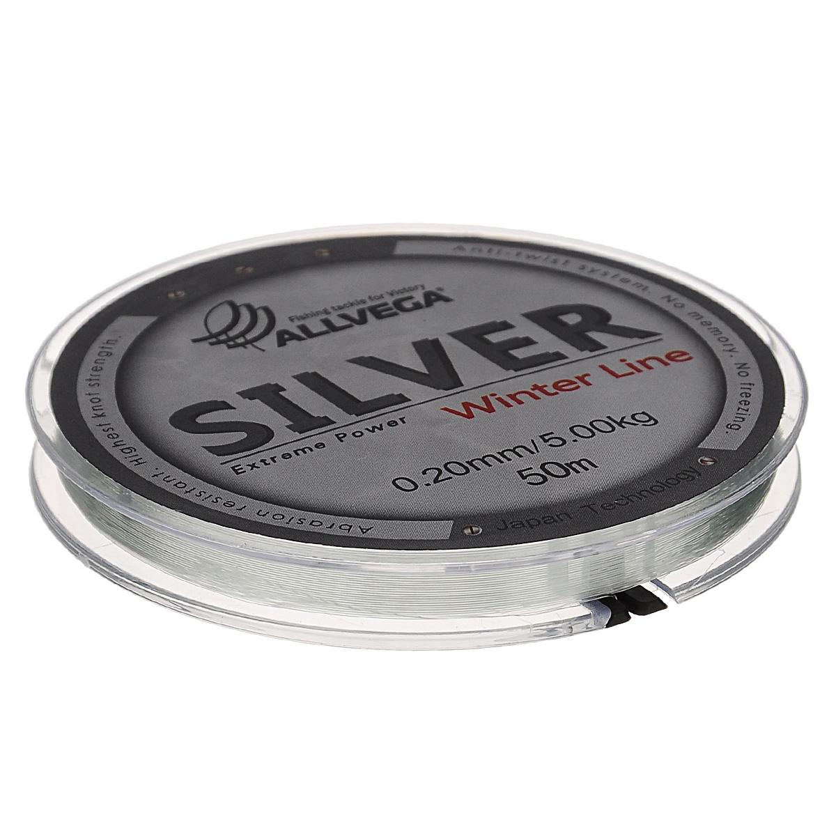 Леска Allvega Silver, цвет: серебристый, 50 м, 0,2 мм, 5 кг51531Специальная зимняя леска Allvega Silver предназначена для использования во время низких температур. Имеет светло-серый, серебристый оттенок. Высокопрочная. Отсутствие механической памяти позволяет с успехом использовать ее для ловли на мормышку.