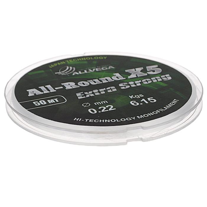 Леска Allvega All-Round X5, цвет: прозрачный, 50 м, 0,22 мм, 6,15 кгPGPS7797CIS08GBNVУниверсальная прозрачная леска Allvega All-Round X5, изготовленная из японского сырья. Обладает высокими разрывными и износостойкими характеристиками. Применяется в летних поплавочных оснастках. Зимой отлично подойдет для ловли на мормышку и для оснащения зимних поплавочных удочек.