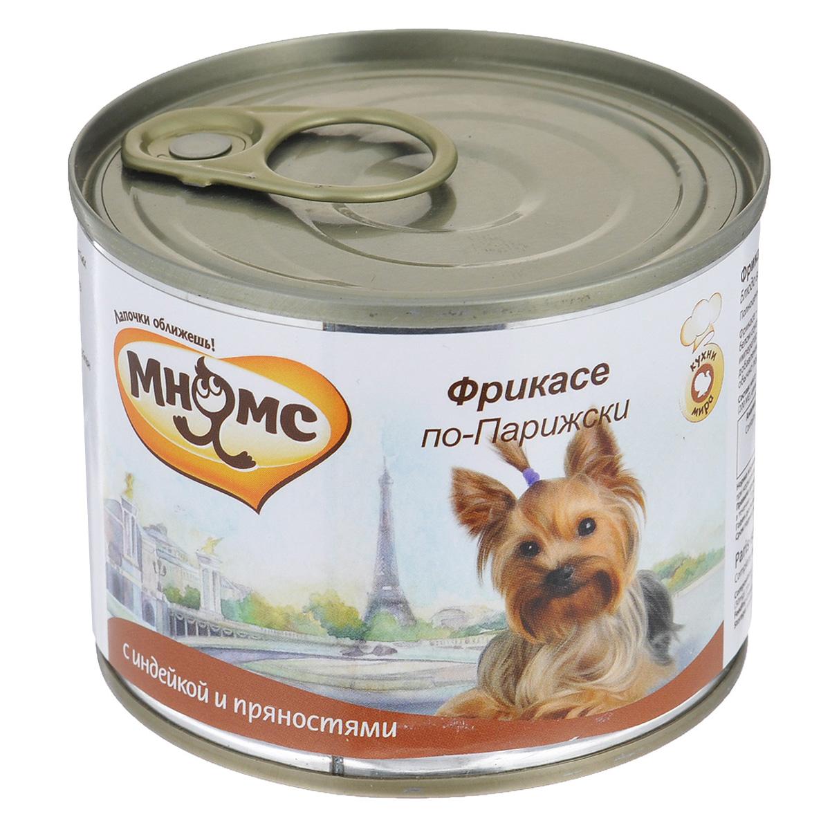 Консервы для собак Мнямс Фрикасе по-Парижски, с индейкой и пряностями, 200 г0120710Консервы для собак Мнямс Фрикасе по-Парижски - это полноценный консервированный корм для собак. Фрикасе - французское блюдо, которое готовят из любого мяса: телятины, курятины, крольчатины или свинины сдобавлением белого соуса. Однако, для приготовления Фрикасе по-Парижски традиционно используют индейку -именно такой вариант, по легенде, предпочитал император Наполеон, а за ним и вся парижская знать временпервой империи. Индейку жарят на сковородке в масле. Соус из белого вина готовят отдельно. Его долго тушат сдобавлением зеленого горошка, спаржи, каперсов и грибов, затем добавляют к индейке. Он придает блюдуманящий аромат. На гарнир обычно подают рассыпчатый рис, который подчеркивает пряный вкус нежнейшегомяса.Состав: мясо (68%, из них индейка 100%), грибы (2%), минералы, прованские травы (0,2%), льняное масло (0,1%),витамин Е (30 мг), витамин D3 (200 МЕ), цинк (15 мг), марганец (3 мг), йод (0,75 мг), селен (0,03 мг).Анализ: белок 10,8%, жир 6,4%, клетчатка 0,4%, зола 2,4%, влажность 79%.Вес: 200 г.Товар сертифицирован.