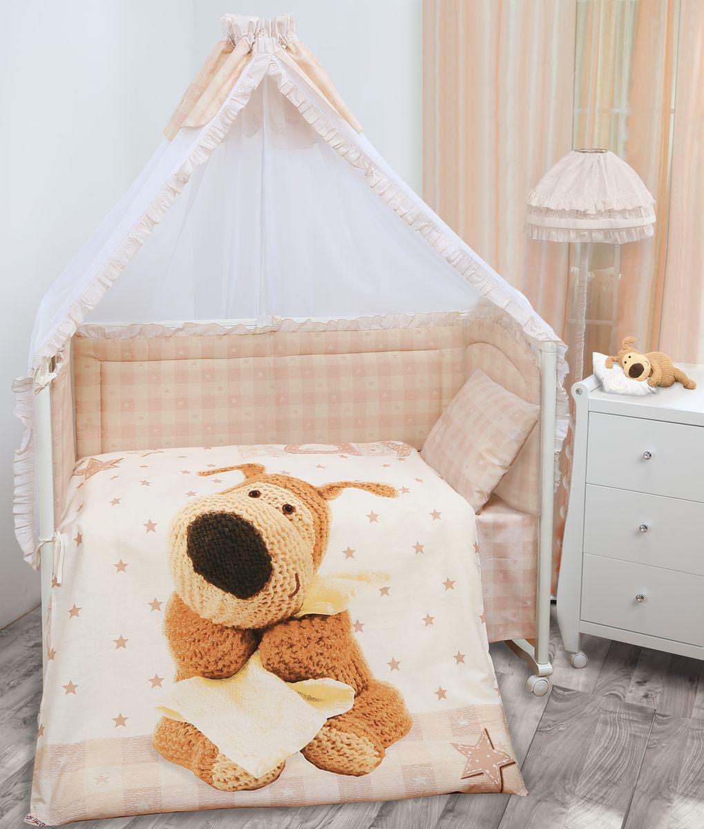 Комплект в кроватку Mona Liza Boofle baby Буффи, цвет: коричневый, 7 предметовS03301004Комплект в кроватку Mona Liza Boofle baby Буффи прекрасно подойдет для кроватки вашего малыша, добавит комнате уюта и согреет в прохладные дни.В качестве материала верха использован натуральный хлопок, мягкая ткань не раздражает чувствительную и нежную кожу ребенка и хорошо вентилируется.Бортик, подушка и одеяло наполнены 100% полиэфиром. Балдахин выполнен из 100% полиэфира с отделкой 100% хлопка. Комплект состоит из: бортиков 40 см х 60 см - 2 шт, 40 см х 120 см - 2 шт, балдахина 150 см х 300 см,плоской подушки 40 см х 60 см,зимнего одеяла 105 см х 140 см,пододеяльника 110 см х 145 см,наволочки 40 см х 60 см,простыни 100 см х 145 см.Элементы комплекта выполнены из 100% хлопка и оформлены аппликацией в виде очаровательного вязаного щеночка Буффи.Очень важно, чтобы ваш малыш хорошо спал - это залог его здоровья, а значит вашего спокойствия. Согласно рекомендациям детских врачей, лучше всего приобретать изделия только с натуральными наполнителями. Они обеспечивают идеальный термо- и гидробаланс сна вашему малышу.