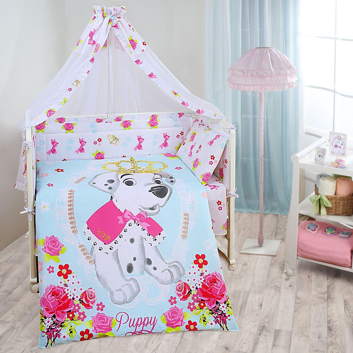 Комплект в кроватку Mona Liza Disney baby Далматинец винтаж, цвет: белый, 7 предметовCLP446Комплект в кроватку Mona Liza Disney baby Далматинец винтаж прекрасно подойдет для кроватки вашего малыша, добавит комнате уюта и согреет в прохладные дни.В качестве материала верха использован натуральный хлопок, мягкая ткань не раздражает чувствительную и нежную кожу ребенка и хорошо вентилируется.Бортик, подушка и одеяло наполнены 100% полиэфиром. Балдахин выполнен из 100% полиэфира с отделкой 100% хлопка. Комплект состоит из: бортиков 40 см х 60 см - 2 шт, 40 см х 120 см - 2 шт, балдахина 150 см х 300 см,плоской подушки 40 см х 60 см,зимнего одеяла 105 см х 140 см,пододеяльника 110 см х 145 см,наволочки 40 см х 60 см,простыни 100 см х 145 см.Элементы комплекта выполнены из 100% хлопка и оформлены аппликацией в виде забавного щенка далматинца.Очень важно, чтобы ваш малыш хорошо спал - это залог его здоровья, а значит вашего спокойствия. Согласно рекомендациям детских врачей, лучше всего приобретать изделия только с натуральными наполнителями. Они обеспечивают идеальный термо- и гидробаланс сна вашему малышу.