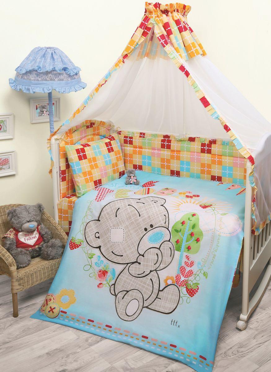 Комплект в кроватку Mona Liza Me To You Тедди, цвет: голубой, 7 предметов531-105Комплект в кроватку Mona Liza Me To You Тедди прекрасно подойдет для кроватки вашего малыша, добавит комнате уюта и согреет в прохладные дни.В качестве материала верха использован натуральный хлопок, мягкая ткань не раздражает чувствительную и нежную кожу ребенка и хорошо вентилируется.Бортик, подушка и одеяло наполнены 100% полиэфиром. Балдахин выполнен из 100% полиэфира с отделкой 100% хлопка. Комплект состоит из: бортиков 40 см х 60 см - 2 шт, 40 см х 120 см - 2 шт, балдахина 150 см х 300 см,плоской подушки 40 см х 60 см,зимнего одеяла 105 см х 140 см,пододеяльника 110 см х 145 см,наволочки 40 см х 60 см,простыни 100 см х 145 см.Элементы комплекта выполнены из 100% хлопка и оформлены аппликацией в виде очаровательного медвежонка Teddy.Очень важно, чтобы ваш малыш хорошо спал - это залог его здоровья, а значит вашего спокойствия. Согласно рекомендациям детских врачей, лучше всего приобретать изделия только с натуральными наполнителями. Они обеспечивают идеальный термо- и гидробаланс сна вашему малышу.