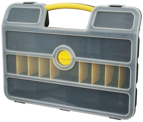 Ящик для крепежа FIT, 46,3 x 34,3 x 9 см66Ящик для крепежа FIT изготовлен из прочного пластика и предназначен для хранения и переноски крепежных элементов. Для более комфортного переноса в руках, на крышке ящика предусмотрена удобная ручка. Благодаря переставным перегородкам размер отделений можно регулировать как вам будет удобно. Закрывается на защелки и дополнительный центральный замокРазмер нерегулируемых отделений: 11 см х 8 см х 6 см.Глубина ящика: 6 см.