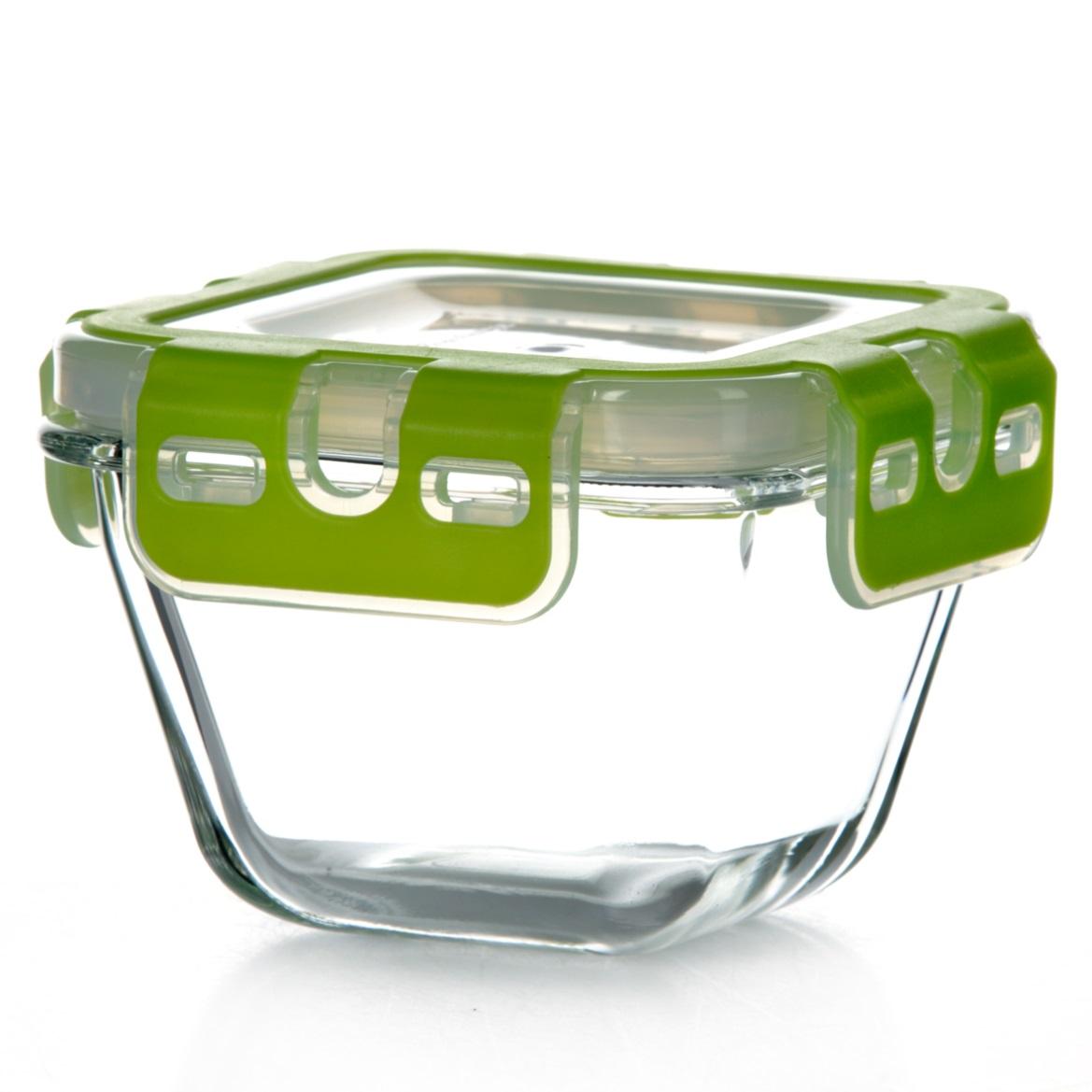 Контейнер для хранения продуктов Pasabahce Storemax, цвет: зеленый, 290 мл21395599Контейнер Pasabahce Storemax, выполненный из высококачественного закаленного стекла, предназначен для хранения продуктов. Благодаря высокому качеству материала и герметичной пластиковой крышке с защелками продукты в контейнере дольше сохранят свежесть, сочность и аромат. Крышка имеет силиконовую вставку, предотвращающую выскальзывание контейнера из рук при открывании. Можно мыть в посудомоечной машине и использовать в микроволновой печи. Подходит для хранения в холодильнике. Размер контейнера: 10,3 см х 10,3 см.Высота (без учета крышки): 6,5 см. Объем: 290 мл.