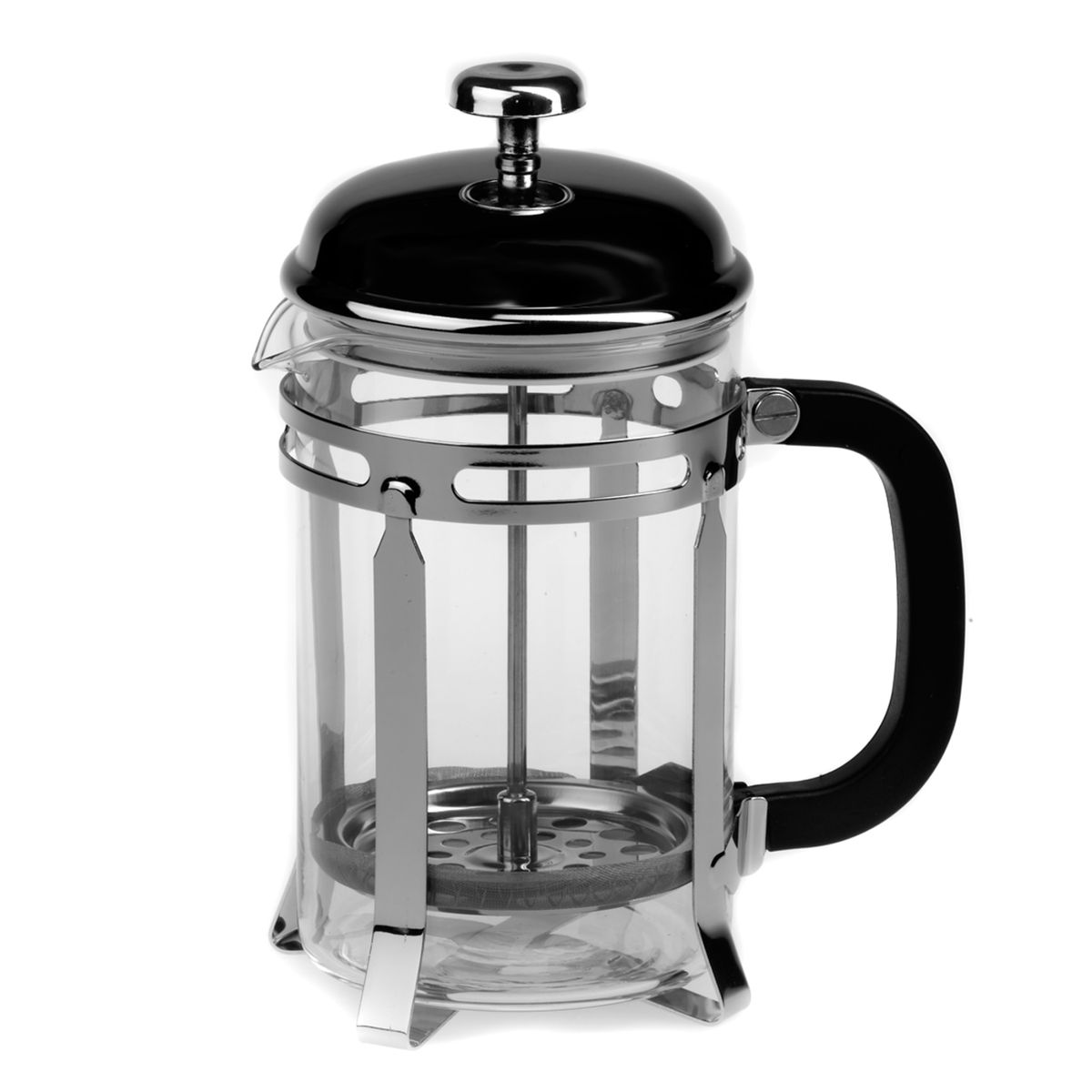 Френч-пресс Gotoff, 800 мл54 009312Френч-пресс Gotoff представляет собой гибрид заварочного чайника и кофейника. Колба выполнена из жаропрочного стекла, корпус, крышка и поршень изготовлены из нержавеющей стали. Ручка пластиковая. Изделие легко разбирается и моется. Прозрачные стенки чайника дают возможность наблюдать за насыщением напитка, а поршень позволяет с легкостью отжать самый сок от заварки и получить напиток с насыщенным вкусом. Заварочный чайник - постоянно используемый предмет посуды, который необходим на каждой кухне. Френч-пресс Gotoff займет достойное место среди аксессуаров на вашей кухне. Можно мыть в посудомоечной машине. Диаметр (по верхнему краю): 10 см. Высота чайника: 21 см.