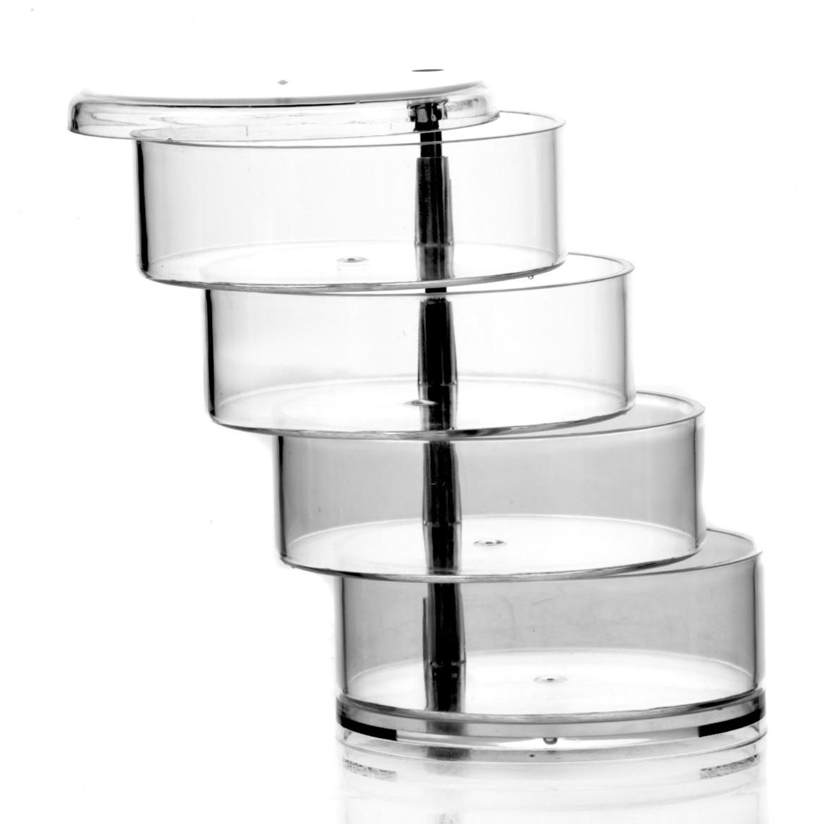 Подставка четырехъярусная House & Holder4630003364517Подставка с крышкой House & Holder отлично подойдет для хранения украшений или косметики. Выполнена из прозрачного пластика. Подставка имеет 4 яруса, которые можно смещать для удобства использования.Размер подставки: 11,5 см х 11,5 см х 18 см.Размер яруса: 11,5 см х 11,5 см х 3,5 см.