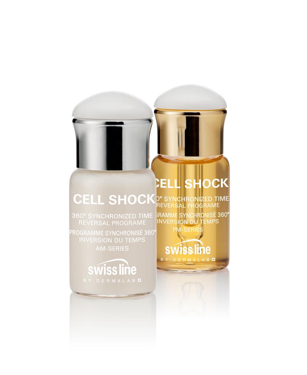 """Swiss Line Cell Shock Синхронизированная антивозрастная программа 360°, 4x12 млZ3503Синхронизированная антивозрастная программа """"время вспять"""" регулирует функции восстановления и обновления кожи согласно её суточному биоритму. Благодаря этому принципу уход за кожей синхронизирован, что позволяет достичь непревзойденных результатов! Программа разработана на основе классических программ лечения ампулами: кожа обновляется один раз в месяц, что составляет один клеточный цикл, в течение которого Вы можете улучшить упругость, уменьшить морщины, восстановить идеальный уровень увлажнения и увеличить жизненную силу и сияние кожи.РЕКОМЕНДУЕТСЯ? Для всех потребителей с усталой, тусклой, безжизненной кожей независимо от её типа.? Для клиентов с признаками старения кожи, которые плохо корректируются обычным уходом. ? Для тех, кто часто путешествует, тех, кто испытывает стресс и усталость. В период межсезонья.В наборе представлены:1. Две ампулы дневного использования - CELL SHOCK 360° SYNCHRONIZED TIME REVERSAL PROGRAME, AM-SERIES, 12 mlСВОЙСТВА- Разглаживает морщины, обеспечивает лифтинг и увлажнение. - Защищает ДНК от повреждений. Замедляет процесс гликации. - Смягчает кожу. Действует как защитный барьер против стресса.- Комплекс Cellactel 2 комплекс поддерживает жизненно важные функции кожи и восстанавливает клеточный метаболизм.ИНГРЕДИЕНТЫ И ИХ ДЕЙСТВИЕ- Утренняя Клеточная культура - уникальная культура состоит из культивированных стволовых клеток цветущего табака, ферментов черного чая и дрожжей. Как показывает тест in vitro: защищает ДНК клеток, уменьшает гликацию и способствует увеличению объема гиподермы*. Эти совместные действия способствуют повышению плотности и значительному выравниванию микрорельефа кожи и устранению усталого вида. - Комплекс Flash-Lift– Комплекс гидролизованных полисахаридов и камеди акации. Формирует на коже сеточку, которая после высыхания на поверхности кожи подтягивается, способствуя моментальному лифтингу. Эффект длится несколько часов.- Биомиме"""
