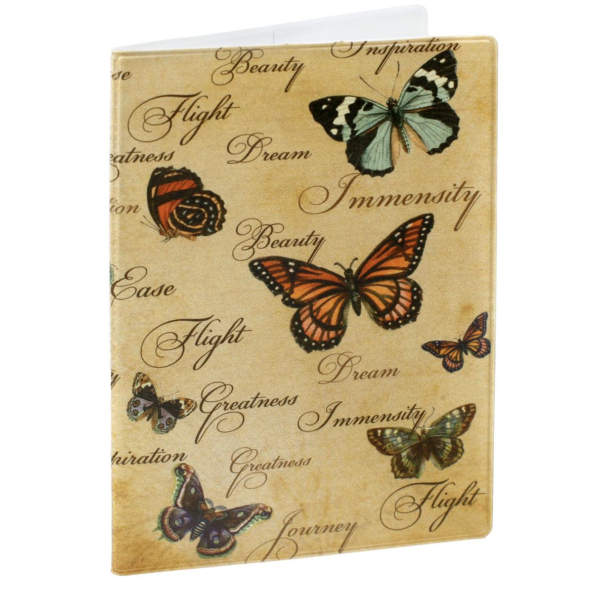 Обложка для паспорта Бабочки, цвет: песочный. 29056OZAM002Обложка для паспорта Бабочки не только поможет сохранить внешний вид ваших документов и защитить их от повреждений, но и станет стильным аксессуаром, идеально подходящим вашему образу. Обложка выполнена из поливинилхлорида и оформлена оригинальным изображением бабочек. Внутри имеет два вертикальных кармана из прозрачного пластика. Такая обложка поможет вам подчеркнуть свою индивидуальность и неповторимость!