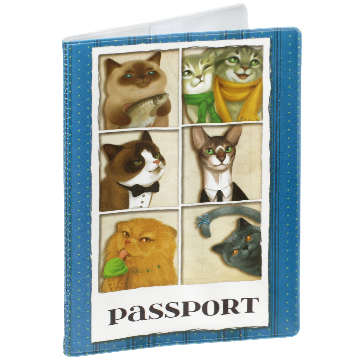 Обложка для паспорта Кошечки, цвет: синий. 37729OZAM232Обложка для паспорта Кошечки не только поможет сохранить внешний вид ваших документов и защитить их от повреждений, но и станет стильным аксессуаром, идеально подходящим вашему образу. Обложка выполнена из поливинилхлорида и оформлена оригинальным изображением кошек. Внутри имеет два вертикальных кармана из прозрачного пластика. Такая обложка поможет вам подчеркнуть свою индивидуальность и неповторимость!
