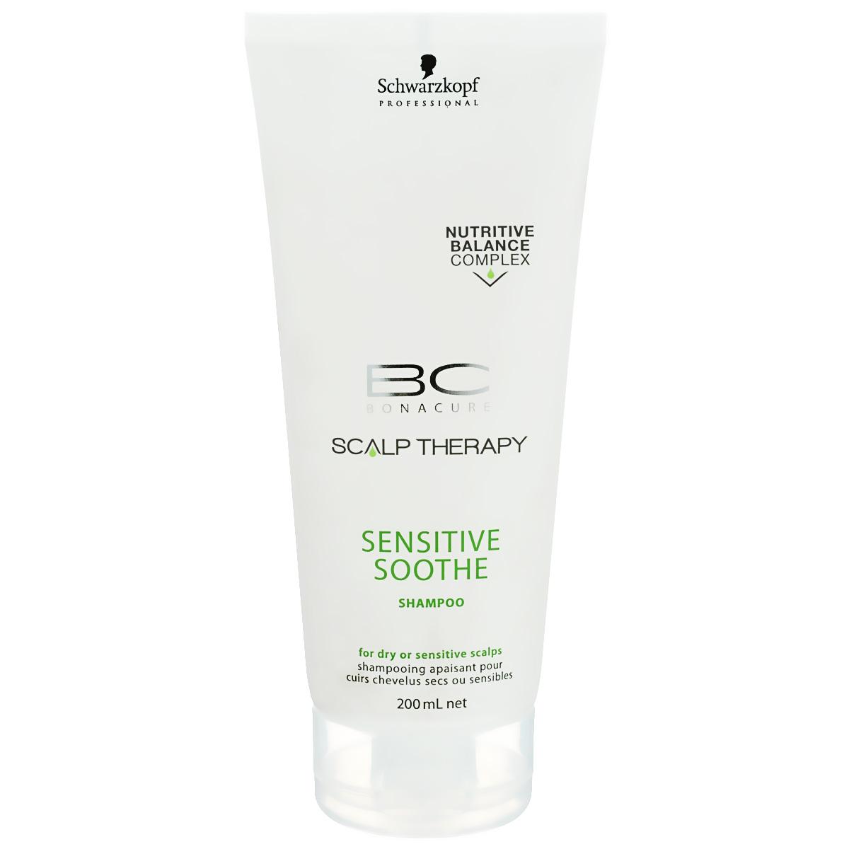 Bonacure Шампунь для чувствительной кожи головы Scalp Therapy Sensitive Shampoo 200 млSatin Hair 7 BR730MNМягкий шампунь для всех типов волос и чувствительной кожи головы. Легкая формула с мягкими поверхностно - активными веществами деликатно очищает кожу головы, помогая избежать последующего раздражения. Содержит Таурин который способствует поддержанию естественных защитных функций кожи головы. Для достижения максимального результата рекомендуется использовать в комплексе с сывороткой BC Scalp Therapy Sensitive Scalp.