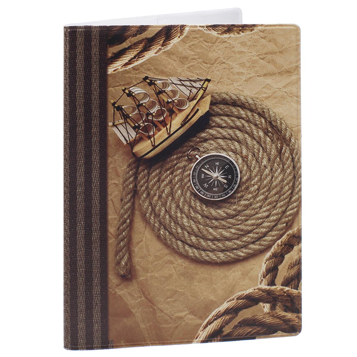 Обложка для паспорта Корабль, цвет: коричневый. 32403860Обложка для паспорта Корабль не только поможет сохранить внешний вид ваших документов и защитить их от повреждений, но и станет стильным аксессуаром, идеально подходящим вашему образу. Обложка выполнена из поливинилхлорида и оформлена оригинальным изображением корабля, компаса и троса. Внутри имеет два вертикальных кармана из прозрачного пластика. Такая обложка поможет вам подчеркнуть свою индивидуальность и неповторимость!