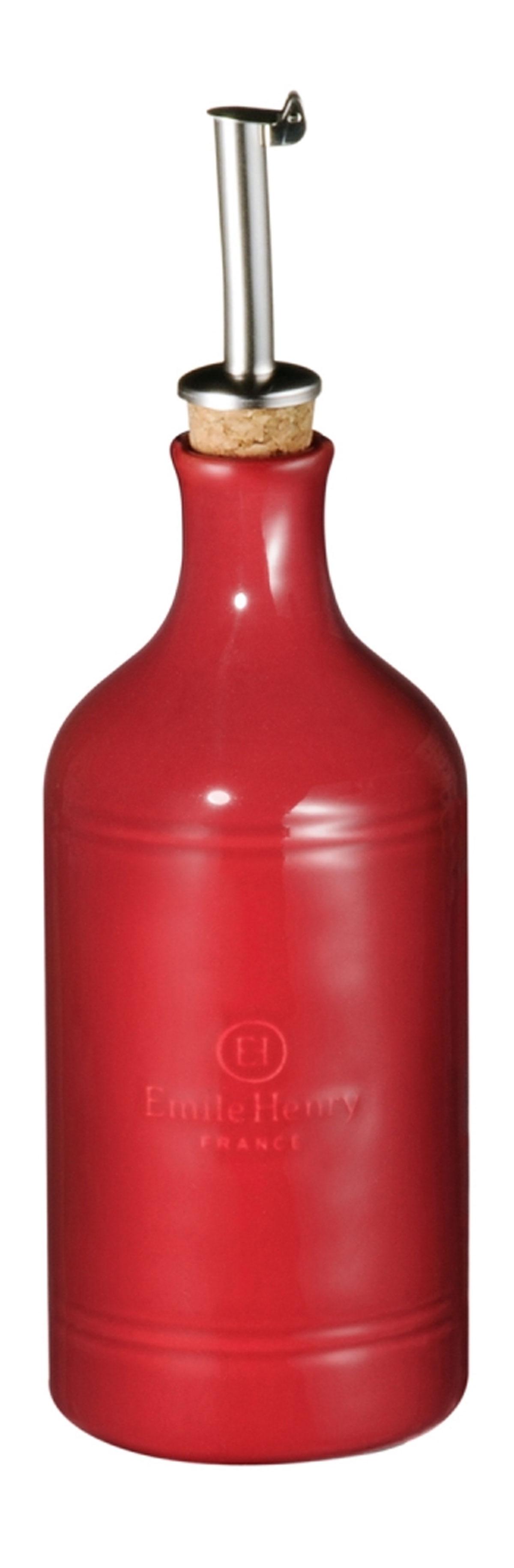 Бутылка для масла и уксуса Emile Henry Natural Chic, цвет: гранат, 450 млVT-1520(SR)Бутылка для масла или уксуса Emile Henry Natural Chic, выполненная из керамики и металла, позволит украсить любую кухню, внеся разнообразие как в строгий классический стиль, так и в современный кухонный интерьер. Пробковая крышка с носиком снабжена клапаном антикапля, не допускающим пролива. Стенки бутылки светонепроницаемые, поэтому ее можно хранить в открытом шкафу, не волнуясь, что ваше лучшее оливковое масло потеряет вкус и аромат.Оригинальная бутылка будет отлично смотреться на вашей кухне.Высота бутылки (с учетом носика): 23,5 см. Диаметр основания: 7 см.