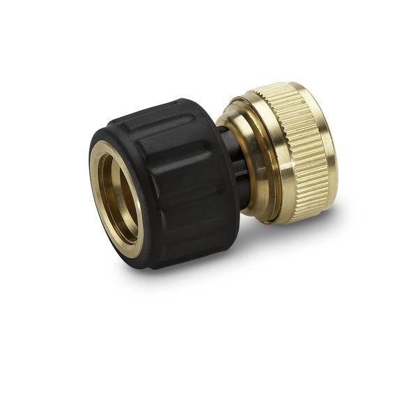 Коннектор латунный для шлангов Karcher, с аквастопом, 1/2, 5/8 2.645-017.0А00319Быстросъемный коннектор Karcher с функцией аквастоп предназначен для соединения шлангов 1/2, 5/8. Выполнен из латуни, что обеспечивает ему долгий срок эксплуатации. Коннектор имеет накладку из мягкого полимера дляповышения удобства и долговечности.