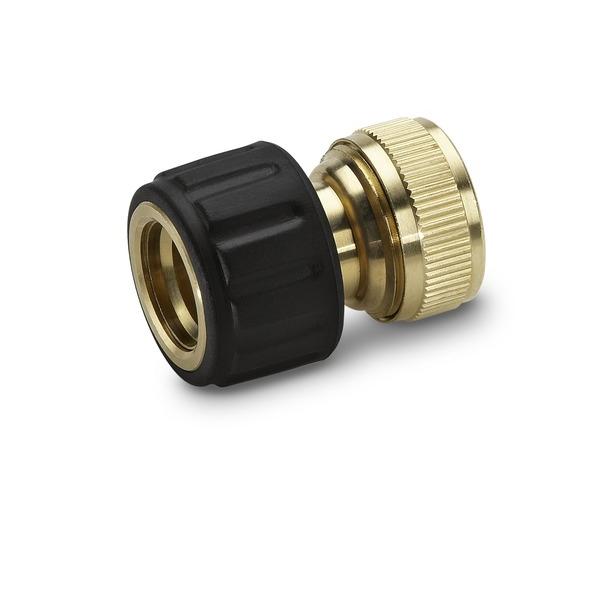 Коннектор латунный для шлангов Karcher, с аквастопом, 3/4. 2.645-018.0106-026Коннектор Karcher предназначен для соединения шланга 3/4 с другими элементами системы полива. Он изготовлен из высококачественной латуни, что обеспечивает долгий период эксплуатации. Для удобства использования и надежной фиксации имеется резиновое кольцо на ручке. Функция аквастоп гарантирует защиту от вытекания воды.