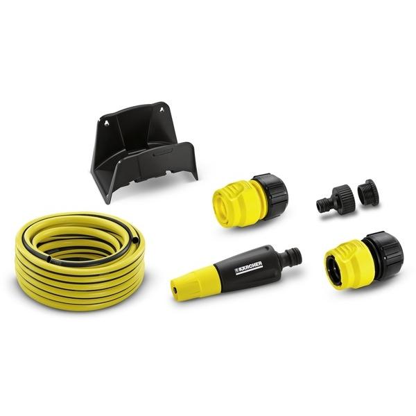 Шланговый комплект Karcher PrimoFlex, с зажимом, 1/2, 15 м 2.645-114.02.645-114.0Комплект для полива Karcher PrimoFlex идеально подойдет для подключения минимоек. Состоит из шланга Karcher PrimoFlex 15 метров, распылитель, коннектор с аквастопом, универсальный коннектор, штуцер для подсоединения к крану G1 с переходом на G3/4. Шланг не содержит вредных веществ, фталатов и вторичного сырья. Устойчив к перегибам. Промежуточный слой является светонепроницаемым и предотвращает рост водорослей в шланге. Внешний слой устойчивый к -УФ и погодным условиям.Максимальное давление: 24 бар.Рабочая температура: от -20°С до +65°С.