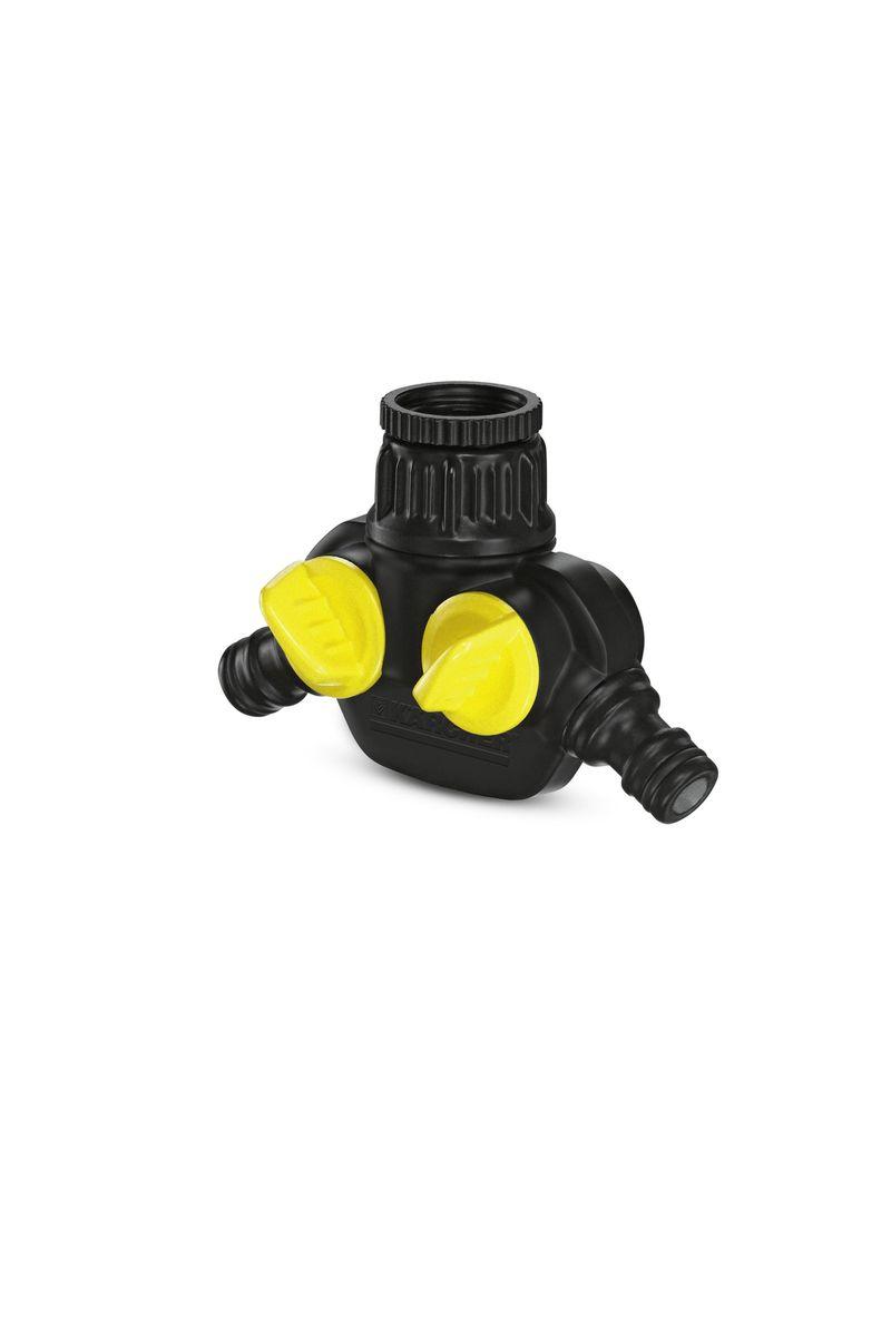 Распределитель для крана Karcher, с 2 выходами. 2.645-199.02.645-199.0Распределитель Karcher с двумя выходами предназначен для присоединения от 1 до 2 шлангов к одному водопроводному крану. Устройство имеет 2 вентиля, при помощи которых можно регулировать поток воды. Внутри распределителя расположен металлический сетчатый фильтр.Диаметр подключения: 1/2, 3/4.