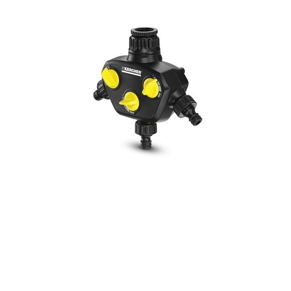 Распределитель для крана Karcher, с 3 выходами 2.645-200.0106-026Распределитель Karcher предназначен для присоединения к кранам с резьбой G1 и переходником G3/4. Обеспечивает орошение с одновременным использованием до 3 шлангов. 3 независимых выхода с регуляторами расхода воды. На входе имеется металлический фильтр. 3 штуцера в комплекте.