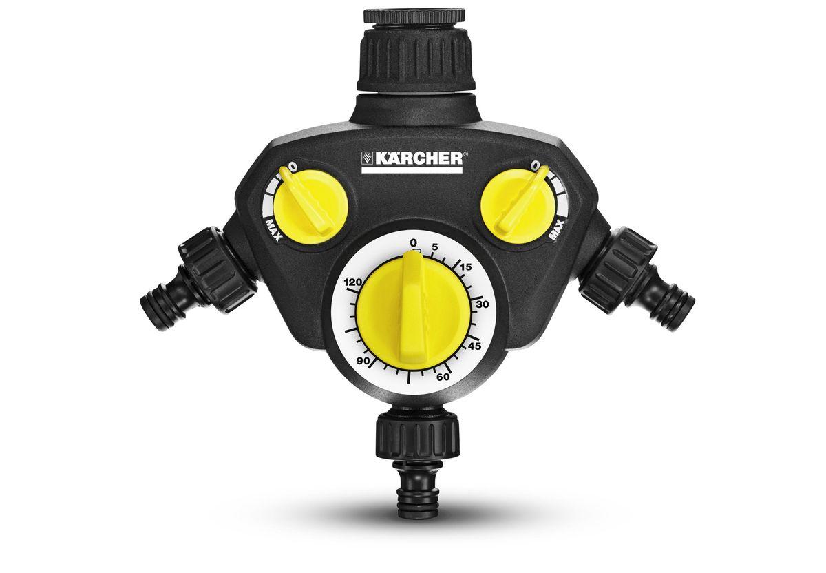 Таймер поливочный Karcher WT 2000, 3 выхода 2.645-209.02.645-209.0Karcher WT 2000 используется для присоединения к кранам с резьбой G1 и переходником G3/4. Распределитель имеет 2 независимых регулируемых выхода, 3 выход с таймером. Обеспечивает автоматическое орошение с одновременным использованием до 3 шлангов. Поток воды плавно регулируется. Продолжительность орошения можно устанавливать от 0 до 120 минут.