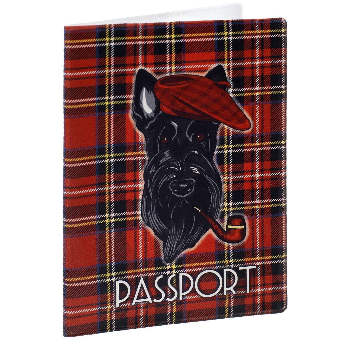 Обложка для паспорта Тартан, цвет: красный. 3567535675Обложка для паспорта Тартан не только поможет сохранить внешний вид ваших документов и защитить их от повреждений, но и станет стильным аксессуаром, идеально подходящим вашему образу. Обложка выполнена из поливинилхлорида и оформлена оригинальным орнаментом тартан с изображение собаки. Внутри имеет два вертикальных кармана из прозрачного пластика. Такая обложка поможет вам подчеркнуть свою индивидуальность и неповторимость!
