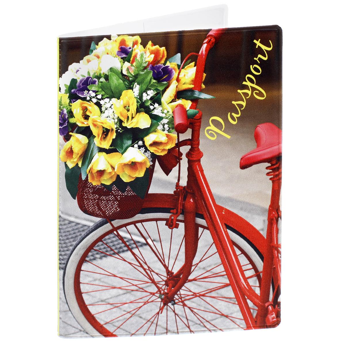 Обложка для паспорта Романтика, цвет: красный, желтый. 35669991Обложка для паспорта Романтика не только поможет сохранить внешний вид ваших документов и защитить их от повреждений, но и станет стильным аксессуаром, идеально подходящим вашему образу. Обложка выполнена из поливинилхлорида и оформлена оригинальным изображением велосипеда с корзиной цветов . Внутри имеет два вертикальных кармана из прозрачного пластика. Такая обложка поможет вам подчеркнуть свою индивидуальность и неповторимость!