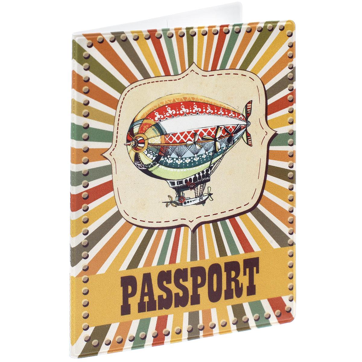 Обложка для паспорта Дирижабль, цвет: разноцветный. 35687730Обложка для паспорта Дирижабль не только поможет сохранить внешний вид ваших документов и защитить их от повреждений, но и станет стильным аксессуаром, идеально подходящим вашему образу. Обложка выполнена из поливинилхлорида и оформлена оригинальным изображением дирижабля. Внутри имеет два вертикальных кармана из прозрачного пластика. Такая обложка поможет вам подчеркнуть свою индивидуальность и неповторимость!