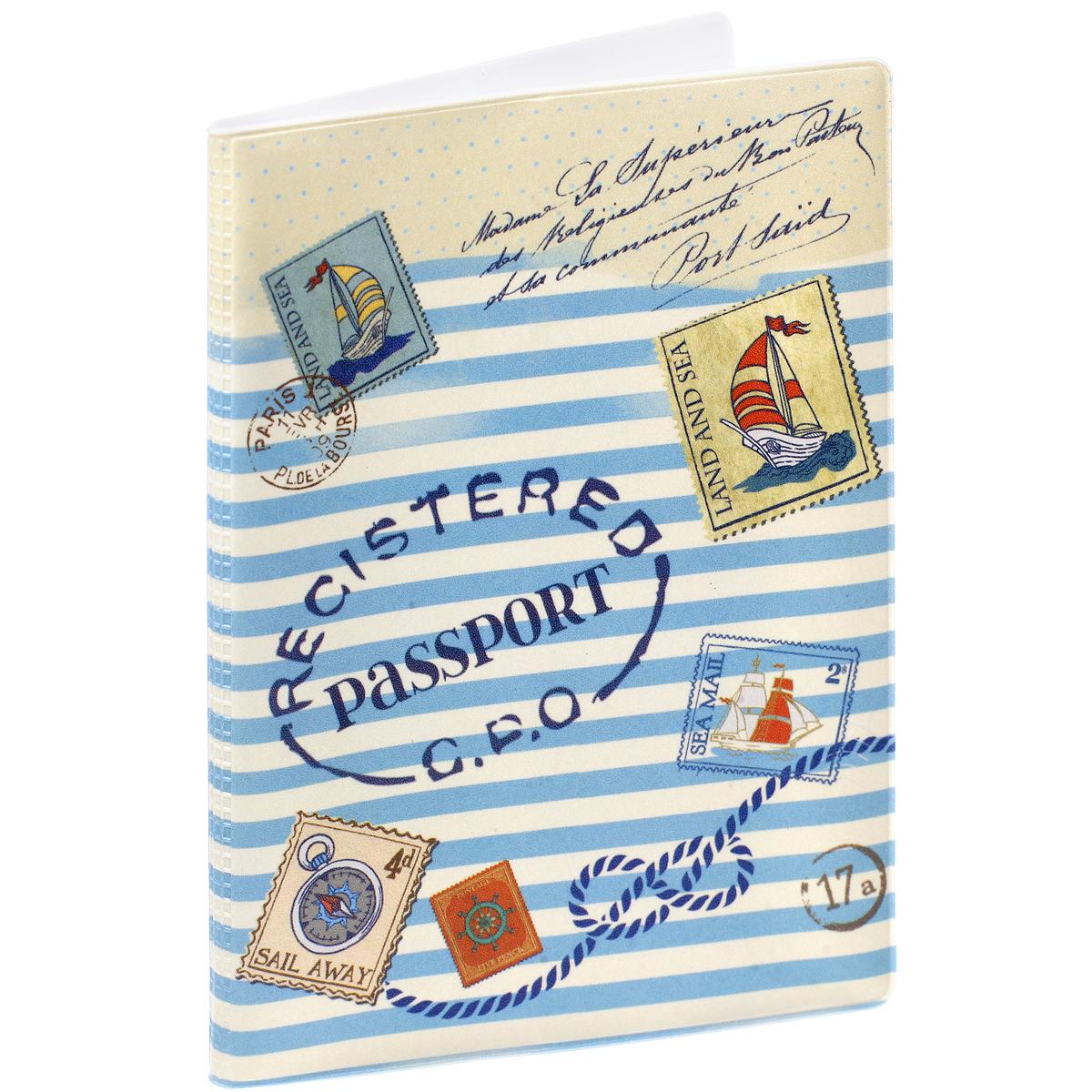 Обложка для паспорта Морская, цвет: синий, белый. 37712020Обложка для паспорта Морская не только поможет сохранить внешний вид ваших документов и защитить их от повреждений, но и станет стильным аксессуаром, идеально подходящим вашему образу. Обложка выполнена из поливинилхлорида и оформлена в морской тематике. Внутри имеет два вертикальных кармана из прозрачного пластика. Такая обложка поможет вам подчеркнуть свою индивидуальность и неповторимость!