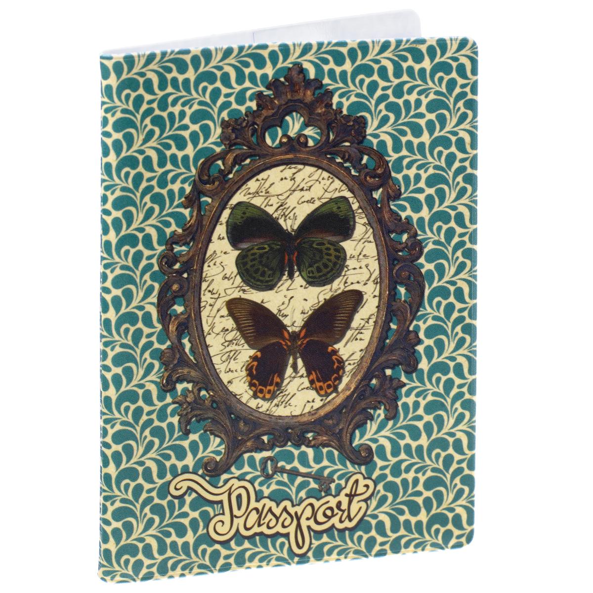 Обложка для паспорта Бабочки, цвет: зеленый, коричневый. 377263342-F/Orange-BeigeОбложка для паспорта Бабочки не только поможет сохранить внешний вид ваших документов и защитить их от повреждений, но и станет стильным аксессуаром, идеально подходящим вашему образу. Обложка выполнена из поливинилхлорида и оформлена оригинальным изображением бабочек на фоне зеркала. Внутри имеет два вертикальных кармана из прозрачного пластика. Такая обложка поможет вам подчеркнуть свою индивидуальность и неповторимость!