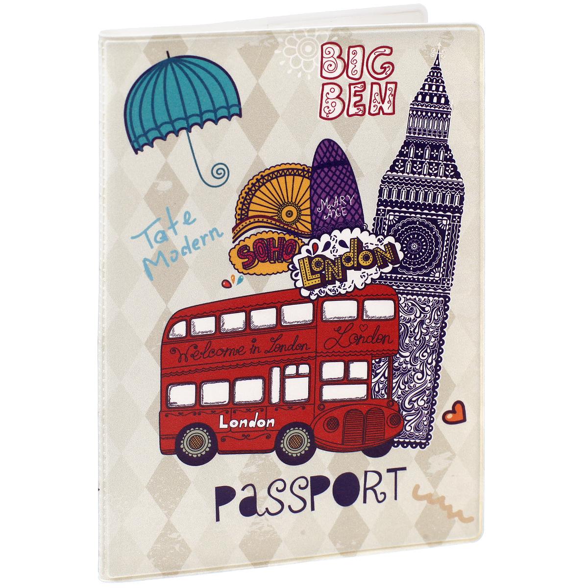 Обложка для паспорта Лондон, цвет: фиолетовый, светло-бежевый, красный. 3239132391Обложка для паспорта Лондон не только поможет сохранить внешний вид ваших документов и защитить их от повреждений, но и станет стильным аксессуаром, идеально подходящим вашему образу. Обложка выполнена из поливинилхлорида и оформлена оригинальным изображением достопримечательностей Лондона с надписью Passport. Внутри имеет два вертикальных кармана из прозрачного пластика. Такая обложка поможет вам подчеркнуть свою индивидуальность и неповторимость!