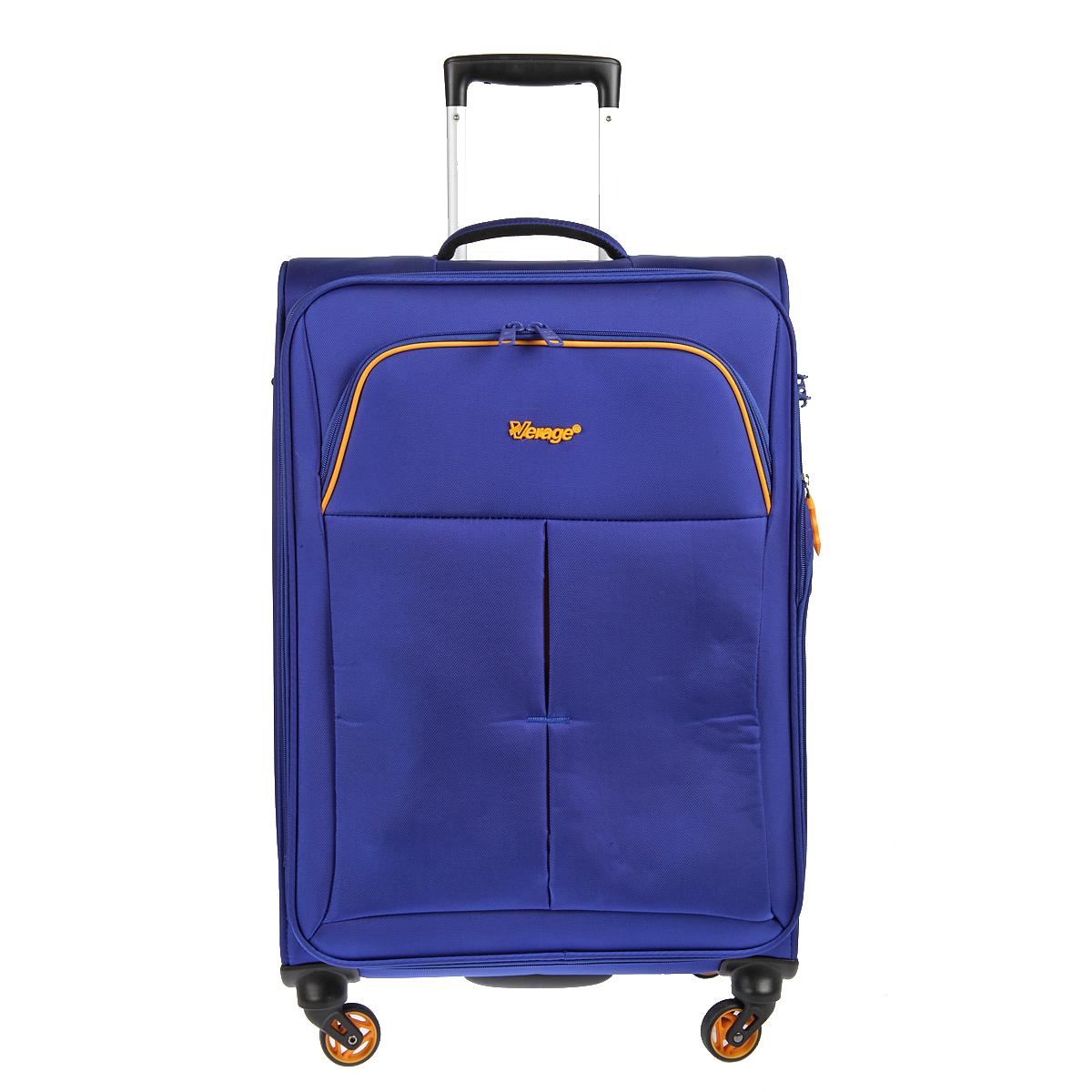 Чемодан-тележка Verage, цвет: синий, 58 л. GM14040w 24ГризлиЧемодан-тележка Verage оснащен четырьмя колесиками 360°, верхней мягкой ручкой. Закрывается по периметру на двухстороннюю молнию. Сбоку и сверху расположены ручки, обеспечивающие удобство транспортировки. Внутри один отдел для одежды и один сетчатый карман на молнии. Снаружи на передней стенке карман на молнии. Возможность увеличения чемодана на 20% (за счет молнии). Встроенный кодовый замок с функцией TSAТакже имеется выдвижная ручка, максимальная высота 47 см.