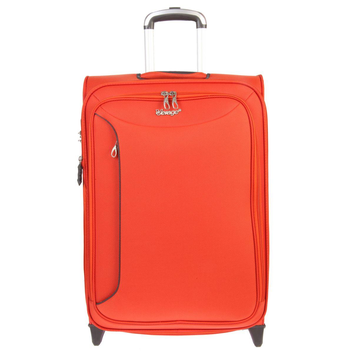 Чемодан-тележка Verage, цвет: оранжевый, 58 л. GM12091T 248300265Чемодан-тележка Verage оснащен верхней ручкой и двумя колесиками для удобства транспортировки. Закрывается по периметру на двухстороннюю молнию. Внутри один отдел для одежды и один сетчатый карман на молнии. Снаружи на передней стенке расположены два кармана на молнии. За счет молнии возможно увеличить объем на 20%. Имеется дополнительно встроенный кодовый замок с функцией TSA. Сверху также расположена выдвижная ручка высотой 46 см.