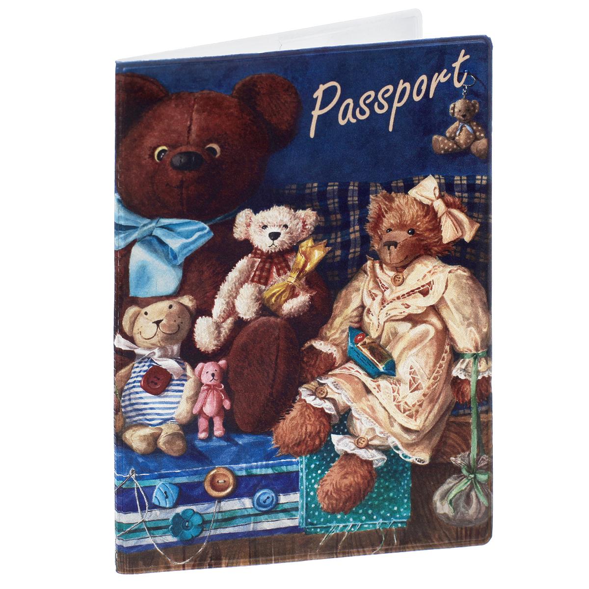Обложка для паспорта Медведи, цвет: коричневый. 3567811379833-BLKОбложка для паспорта Медведи не только поможет сохранить внешний вид ваших документов и защитить их от повреждений, но и станет стильным аксессуаром, идеально подходящим вашему образу. Обложка выполнена из поливинилхлорида и оформлена оригинальным изображением плюшевых медведей. Внутри имеет два вертикальных кармана из прозрачного пластика. Такая обложка поможет вам подчеркнуть свою индивидуальность и неповторимость!