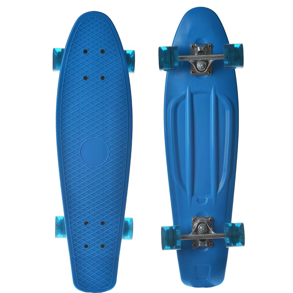 Скейтборд пластиковый Action, цвет: голубой, дека 71 см х 19 смKarjala Comfort NNNПенни борд Action - всеми любимый скейт с усиленной защитой. Эта простая модель без вычурных рисунков позволяет сосредоточиться исключительно на занятии спортом. Скейтборд купить можно подростку любого возраста или даже ребенку.Материал, из которого изготовлено изделие - усиленный пластик. Визуально верхняя часть изделия напоминает стопу. Антискользящая поверхность позволяет совершать любые трюки. Полиуретановые колеса помогут быстро набрать разгон и эффектно тормозить.