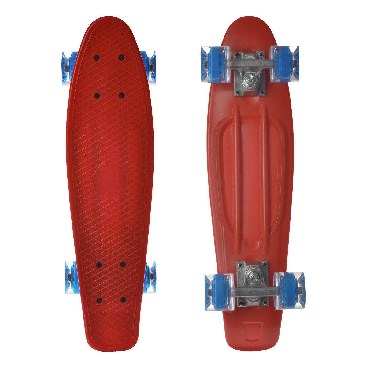 Скейтборд пластиковый Larsen, цвет: красный, дека 55 см х 15 см. BKA0020E333751Пенни борд Larsen подходит для начинающих райдеров и предназначен для уличного катания. Пенни борд имеет специальный выпуклый рисунок в виде сетки, предотвращающий скольжение.Дека выполнена из высококачественного пластика. Подвеска - из прочного алюминия.Высота скейтборда от пола - 10 см. Максимальный вес пользователя - 100 кг. Полиуретановые колеса обеспечивают хорошее сцепление с поверхностью, быстрый разгон и торможение.В последнее время экстремальные виды спорта, такие как катание на скейтборде, становятся очень популярными. Скейтбординг - это зрелищный и экстремальный вид спорта, представляющий собой катание на роликовой доске с преодолением препятствий и выполнением различных трюков.