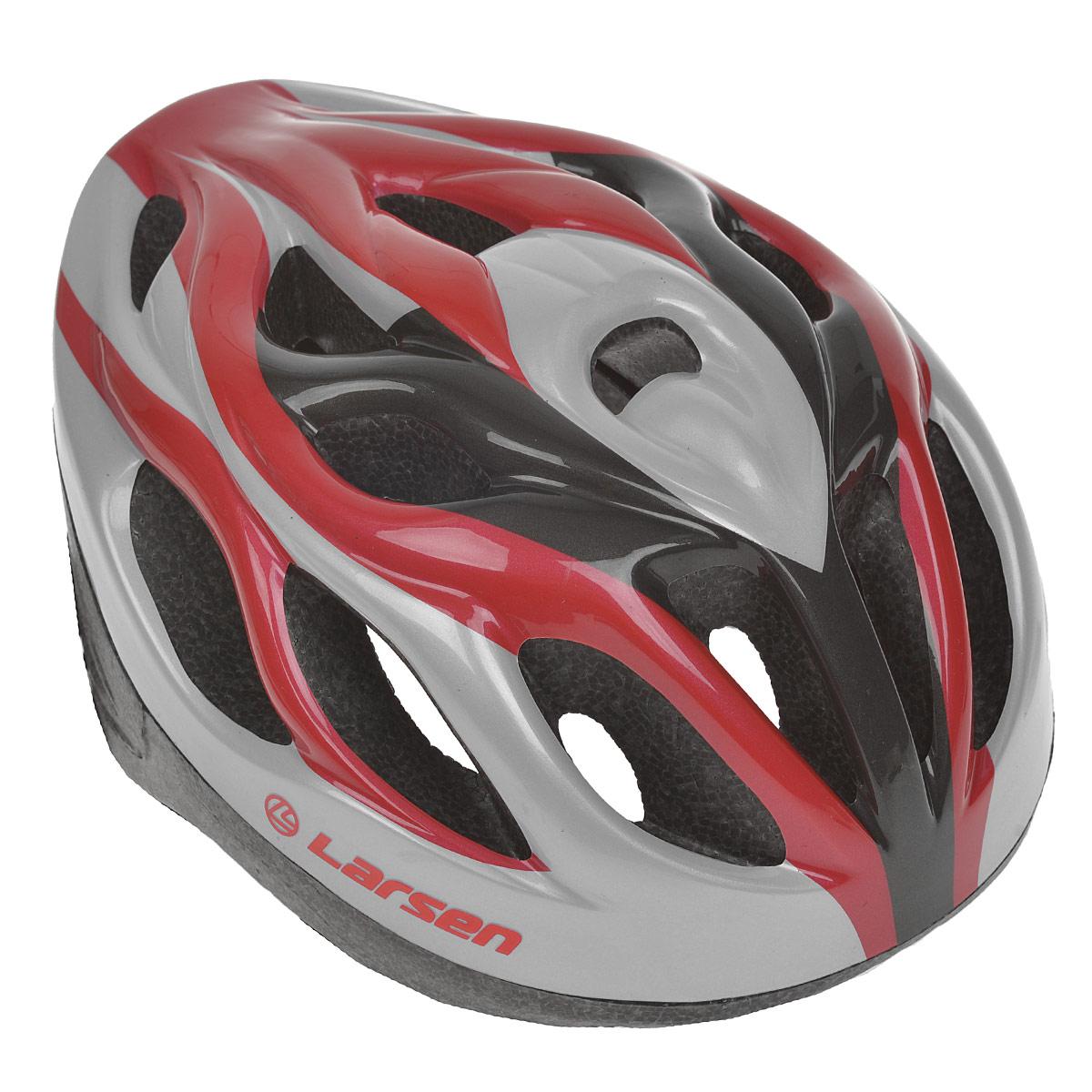 Шлем роликовый Larsen H3BW, цвет: красный, серебристый. Размер L (54-57 см)KBO-1014Надежный роликовый шлем Larsen H3BW сделает ваш активный отдых безопасным.Шлем выполнен из прочного пластика и отлично защищает от травм. Внутренняя сторона шлема оснащена мягкими текстильными накладками, которые обеспечивают надежное прилегание шлема и комфорт при использовании. Шлем имеет систему систему вентиляции. Он отлично сядет по голове, благодаря регулируемым ремешкам и практичному механическому регулятору.Роликовый шлем станет незаменимым дополнением для полноценного летнего отдыха и занятия активными видами спорта.