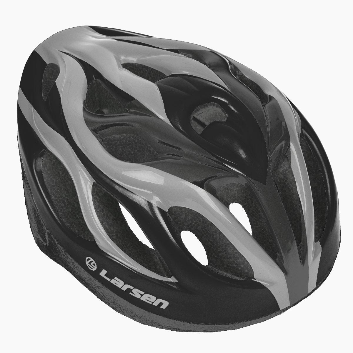 Шлем роликовый Larsen H3BW, цвет: черный, серебристый. Размер L (54-57 см)PWH-2Надежный роликовый шлем Larsen H3BW сделает ваш активный отдых безопасным.Шлем выполнен из прочного пластика и отлично защищает от травм. Внутренняя сторона шлема оснащена мягкими текстильными накладками, которые обеспечивают надежное прилегание шлема и комфорт при использовании. Шлем имеет систему систему вентиляции. Он отлично сядет по голове, благодаря регулируемым ремешкам и практичному механическому регулятору.Роликовый шлем станет незаменимым дополнением для полноценного летнего отдыха и занятия активными видами спорта.