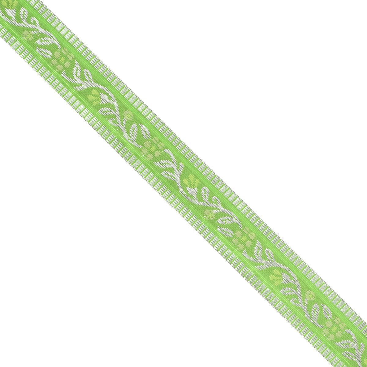 Тесьма декоративная Астра, цвет: зеленый (1), ширина 1,8 см, длина 16,4 м. 7703265C0042416Декоративная тесьма Астра выполнена из текстиля и оформлена оригинальным орнаментом. Такая тесьма идеально подойдет для оформления различных творческих работ таких, как скрапбукинг, аппликация, декор коробок и открыток и многое другое. Тесьма наивысшего качества и практична в использовании. Она станет незаменимым элементом в создании рукотворного шедевра. Ширина: 1,8 см.Длина: 16,4 м.