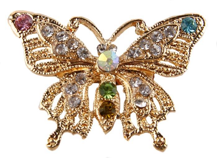 Брошь Блестящая бабочка. Бижутерный сплав, австрийские кристаллы. Начало ХХI векаАжурная брошьБрошь Блестящая бабочка.Бижутерный сплав, австрийские кристаллы.Западная Европа, начало ХХI века. Сохранность хорошая.Размер: 5 см на 4 см.Мимо такой броши невозможно пройти , не обратив на нее и ее владелицу внимание. Яркая, сочная, насыщенная, как весенний день.Брошь украшена крупными австрийскими кристаллами Blue, Rose, Green, Gold и множеством мелких Crystal, которые переливаются под лучами солнца.Красивое украшение для прекрасных леди.