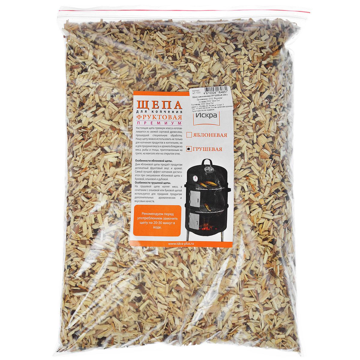 Щепа для копчения Искра Грушевая, 1 кгЩГ-1000Щепа для копчения премиум класса Искра Грушевая, изготовлена из свежей сортовой древесины, прошедшей специальную обработку. Ее можно использовать не только для копчения продуктов в коптильнях, но и для придания вкуса и аромата блюдам из мяса, рыбы и птицы, приготовленным на гриле, мангале или на открытом огне. Рекомендуется перед употреблением замочить щепу на 20-30 минут в воде.Фракция 3-8 мм;Влажность 15-20%. <brВес: 1 кг.