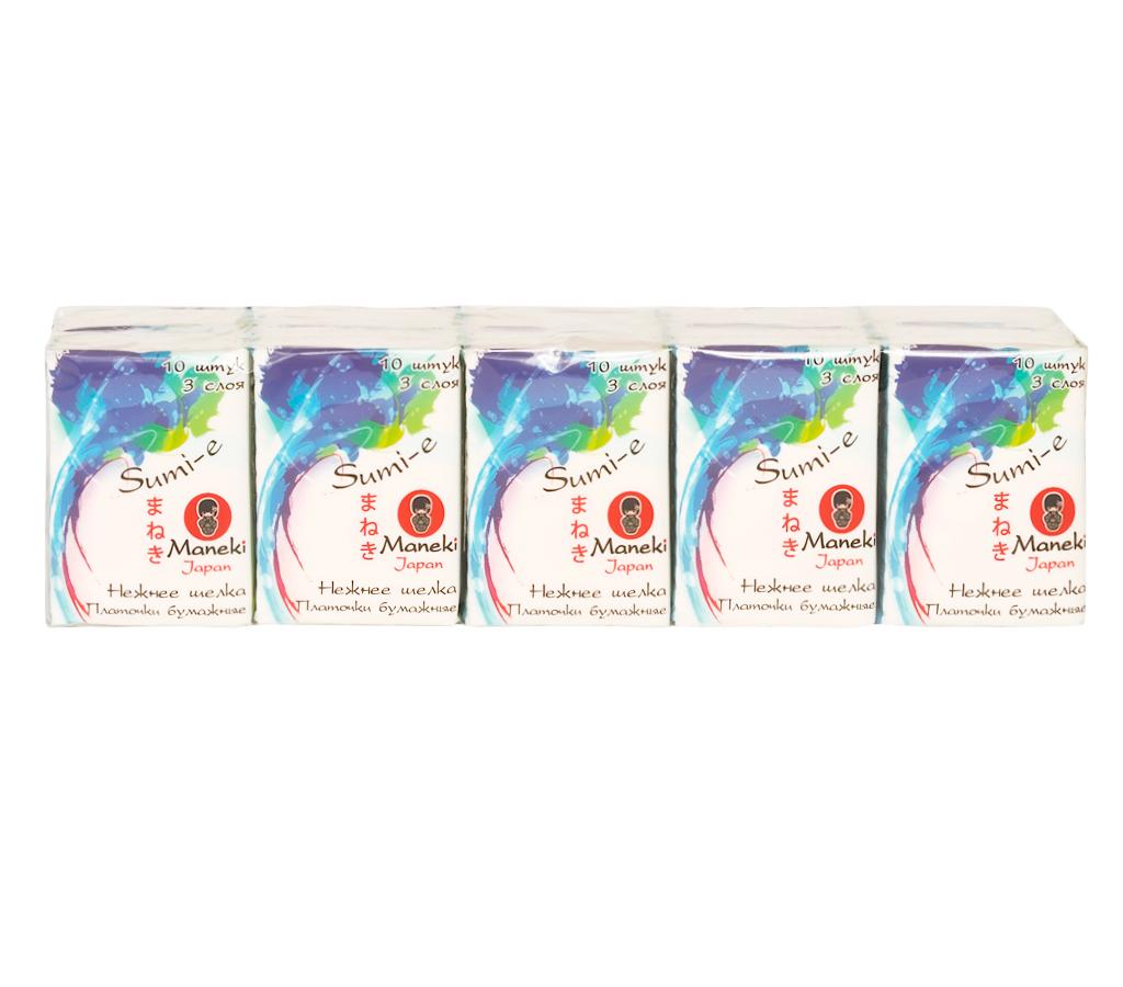 Maneki Платочки бумажные Sumi-e 3 слоя, 10 шт. в пачке, без аромата, 10 пачекSatin Hair 7 BR730MNпроизведены из 100% целлюлозыкомпактная упаковкаотличная впитываемостьмягкие, не вызывают раздражения кожи приятная на ощупь текстура