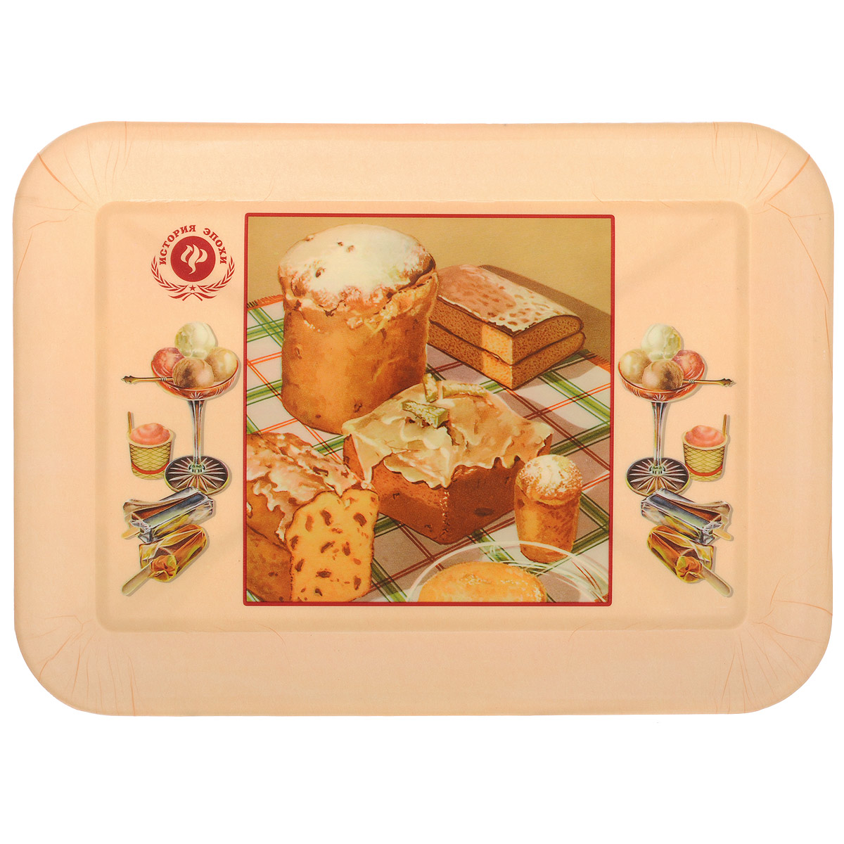 Поднос Феникс-презент Ретро-кексы, 35,5 см х 25,5 см115510Поднос Феникс-презент Ретро-кексы изготовлен из полипропилена. Внутри поднос оформлен рисунком с изображением кексов и разных десертов. Поднос может использоваться как для сервировки, так и для декора кухни. Он прекрасно дополнит интерьер и добавит в обычную обстановку нотки романтики и изящества. Размер подноса: 35,5 см х 25,5 см х 2,3 см. Внутренний размер подноса: 29 см х 19 см х 1,9 см.