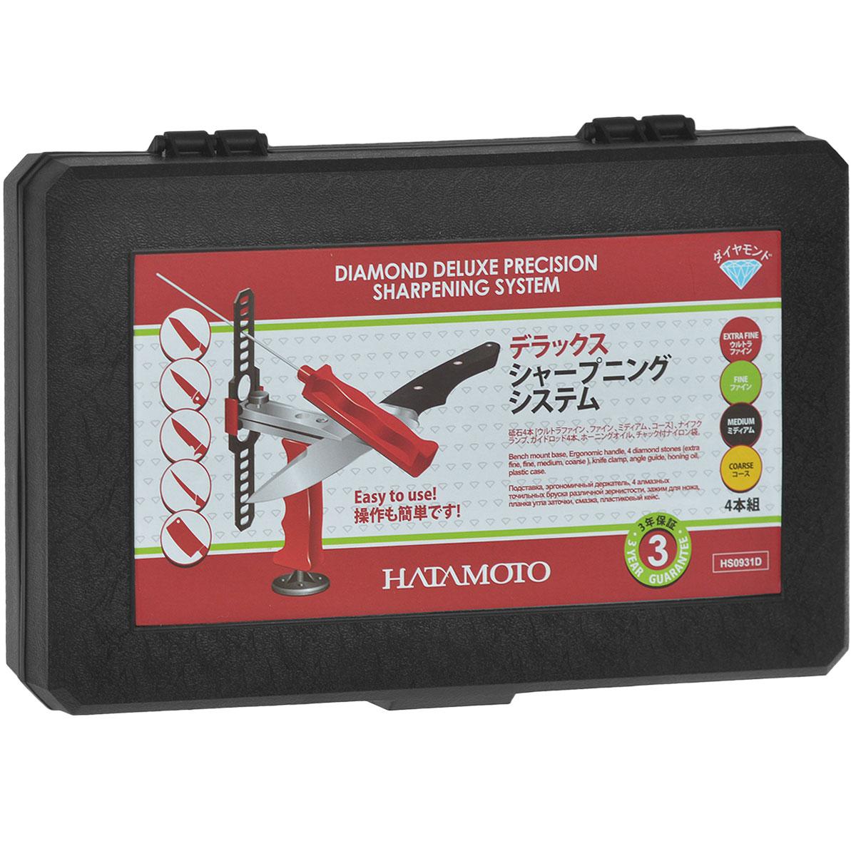 Набор для заточки Hatamoto, с держателем угла заточки54 009312Высококачественная система заточки Hatamoto создана для путешественников, владельцев туристических и кухонных ножей. Она отличается компактностью и небольшим весом, а пластиковый кейс делает точильную систему удобной для транспортировки. Точильные бруски различной зернистости и специальная смазка позволяют достичь бритвенной остроты любого режущего инструмента.Состав набора: подставка, эргономичный держатель, 4 алмазных точильных бруска различной зернистости, зажим для ножа, планка угла заточки, смазка, пластиковый кейс.
