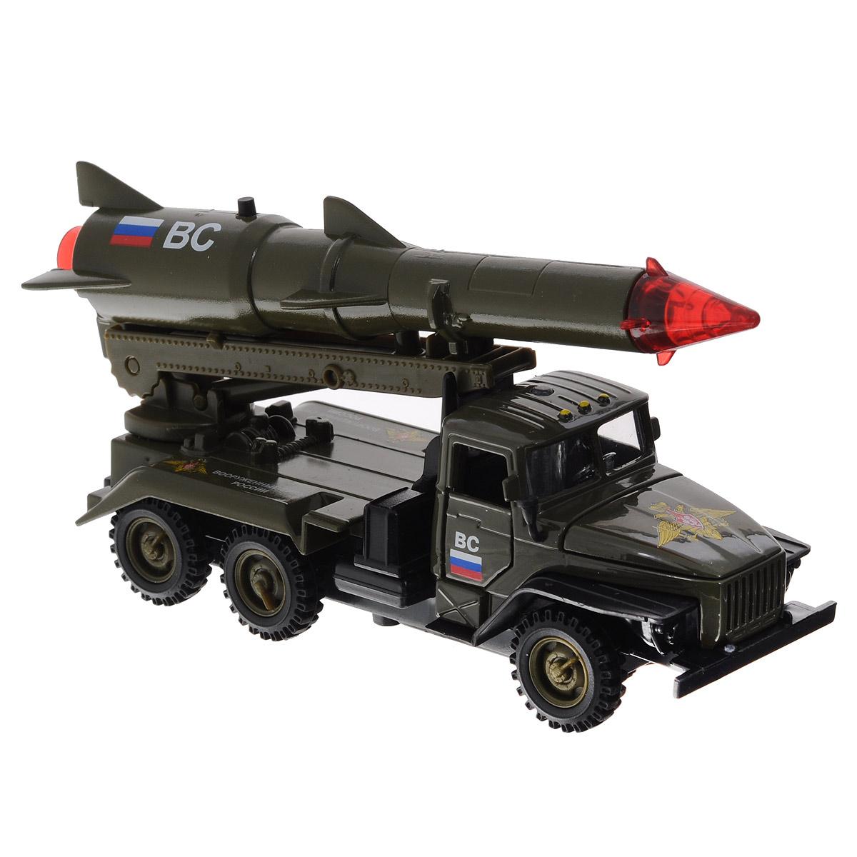 Машинка инерционная ТехноПарк Урал с ракетой, цвет: темно-зеленый