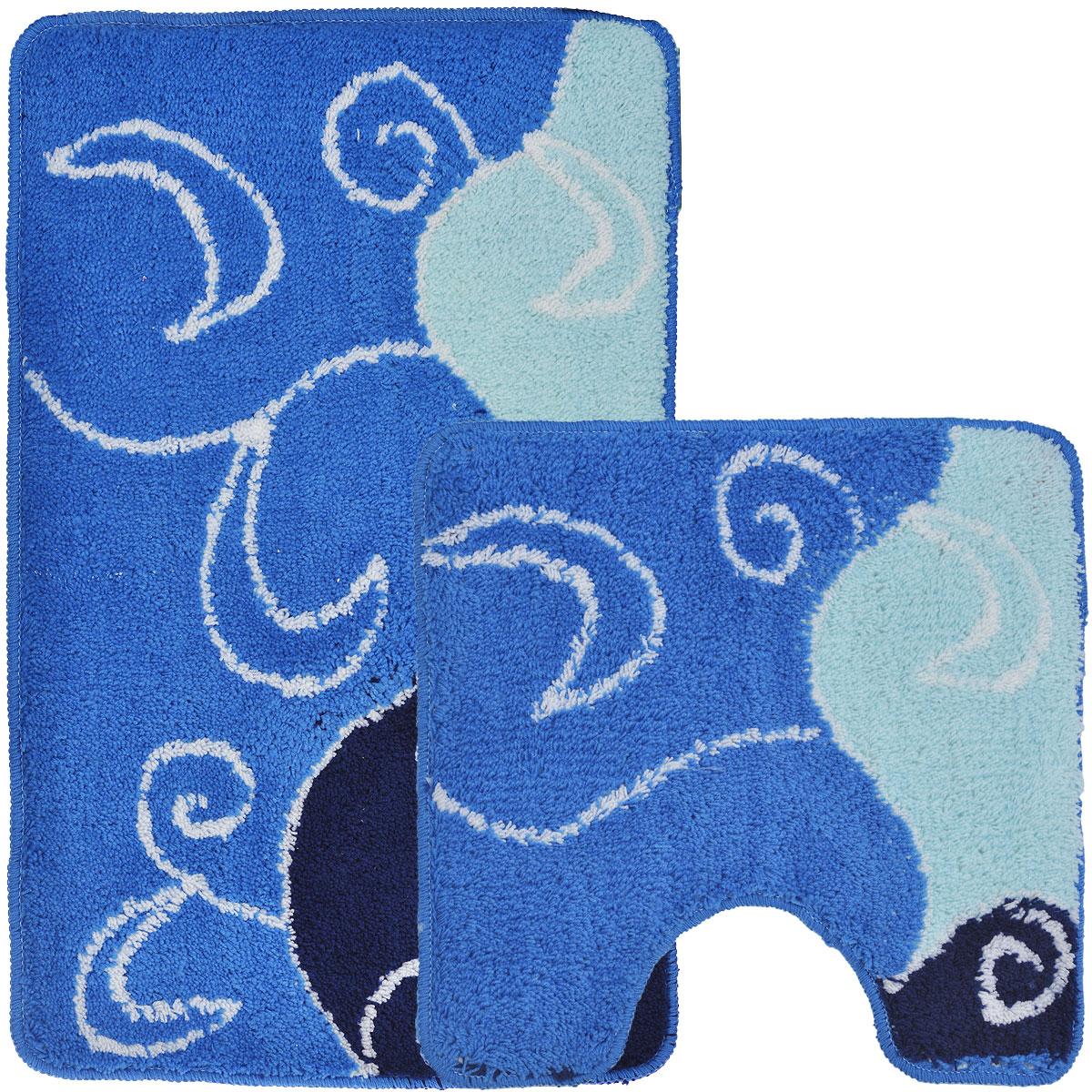 Комплект ковриков для ванной и туалета Fresh Code, цвет: синий, 2 предмета12723Комплект Fresh Code состоит из коврика для ванной комнаты и туалета. Коврики изготовлены из акрила и оформлены узором. Это экологически чистый, быстросохнущий, мягкий и износостойкий материал. Красители устойчивы, поэтому коврики не потускнеют даже после многократных стирок в стиральной машине. Благодаря латексной основе коврики не скользят на полу. Края изделий обработаны оверлоком. Можно использовать на полу с подогревом. Набор для ванной Fresh Code подарит ощущение тепла и комфорта, а также привнесет уют в вашу ванную комнату.Высота ворса: 1 см.Размер коврика для ванной комнаты: 80 см х 50 см.Размер коврика для туалета: 50 см х 50 см.