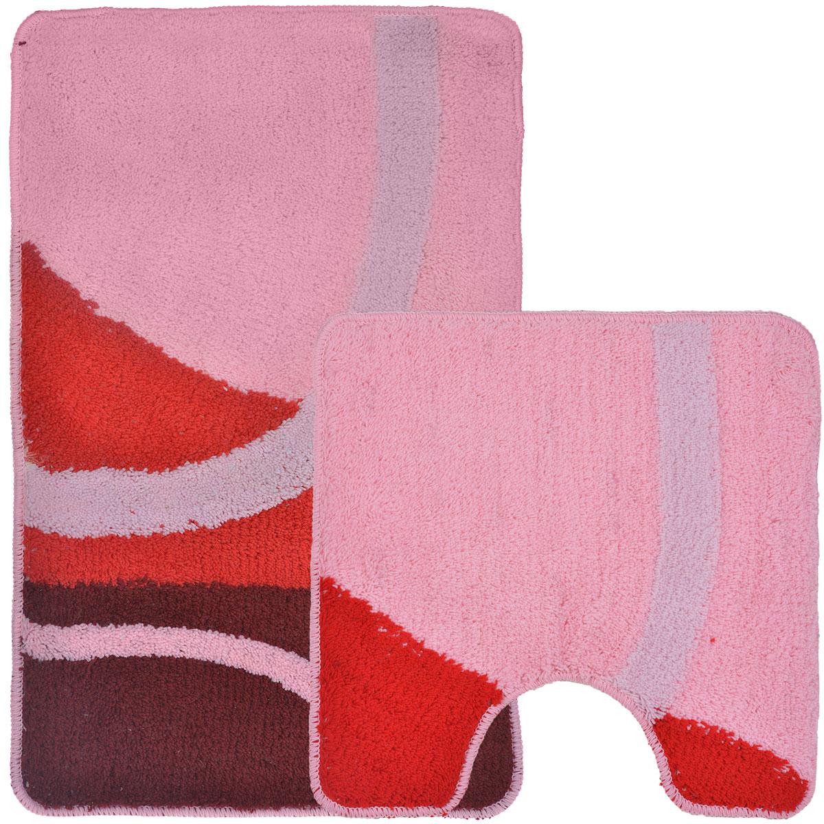 Комплект ковриков для ванной и туалета Fresh Code, цвет: розовый, красный, 2 предмета68/5/3Комплект Fresh Code состоит из коврика для ванной комнаты и туалета. Коврики изготовлены из акрила и оформлены узором. Это экологически чистый, быстросохнущий, мягкий и износостойкий материал. Красители устойчивы, поэтому коврики не потускнеют даже после многократных стирок в стиральной машине. Благодаря латексной основе коврики не скользят на полу. Края изделий обработаны оверлоком. Можно использовать на полу с подогревом. Набор для ванной Fresh Code подарит ощущение тепла и комфорта, а также привнесет уют в вашу ванную комнату.Высота ворса: 1 см.Размер коврика для ванной комнаты: 80 см х 50 см.Размер коврика для туалета: 50 см х 50 см.