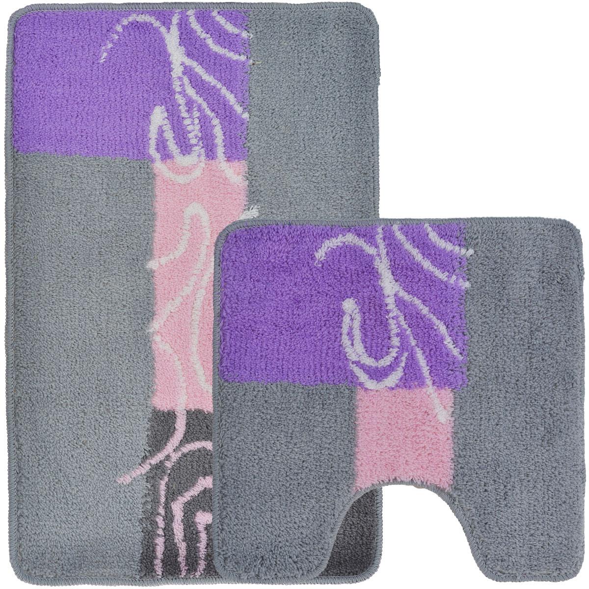 Комплект ковриков для ванной и туалета Fresh Code, цвет: серый, розовый, 2 предмета68/2/2Комплект Fresh Code состоит из коврика для ванной комнаты и туалета. Коврики изготовлены из акрила и оформлены узором. Это экологически чистый, быстросохнущий, мягкий и износостойкий материал. Красители устойчивы, поэтому коврики не потускнеют даже после многократных стирок в стиральной машине. Благодаря латексной основе коврики не скользят на полу. Края изделий обработаны оверлоком. Можно использовать на полу с подогревом. Набор для ванной Fresh Code подарит ощущение тепла и комфорта, а также привнесет уют в вашу ванную комнату.Высота ворса: 1 см.Размер коврика для ванной комнаты: 80 см х 50 см.Размер коврика для туалета: 50 см х 50 см.